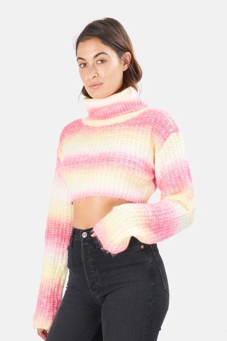 Women's For Love & Lemons Rosa Turtleneck Crop Sweater - Pink