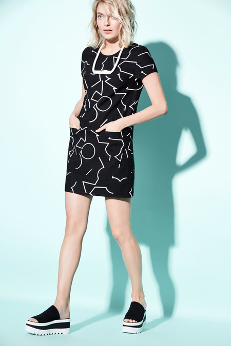 Eve Gravel Il Doodle Dress in Black Pomo