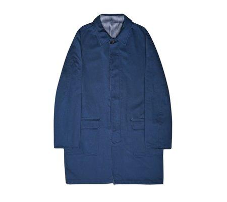 Portuguese Flannel Gaberdine Reversible Jacket - Navy Pied Poule