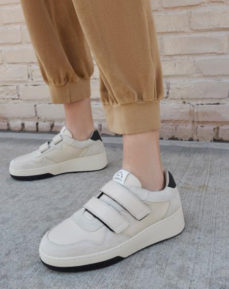 Loeffler Randall Cameron Velcro Sneaker - CREAM/BLACK