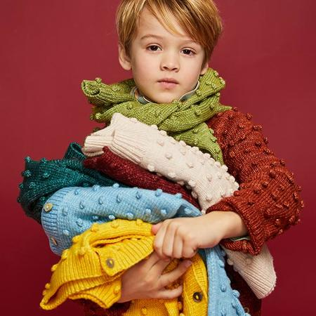 Kids Misha & Puff Popcorn Sweater - Peacock Green