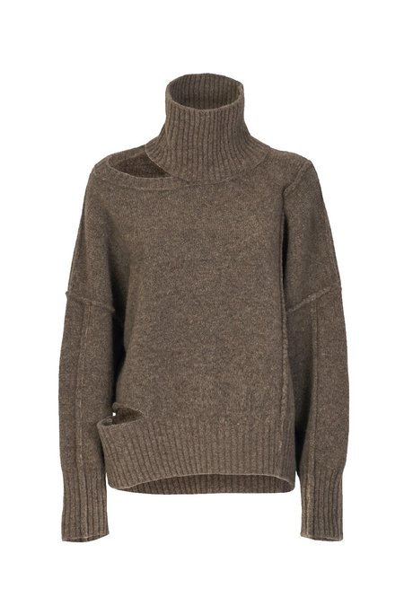 Isabel Benenato Highneck Yak Cut-Out Details Jumper sweater - Taupe/White