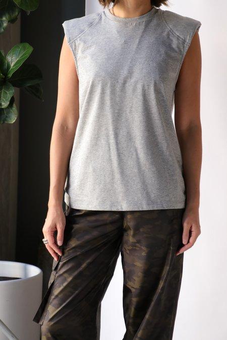 Tibi Padded Shoulder Sleeveless Top - Heather Grey