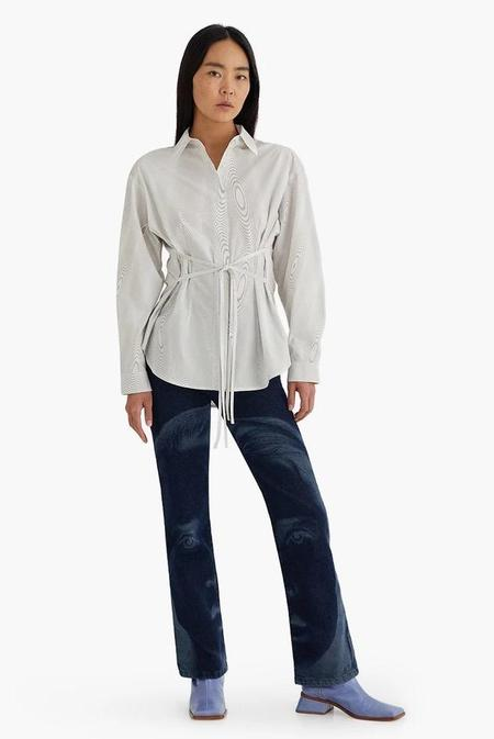 Paloma Wool Marie Fractal Wave Print Organic Cotton Button Down Shirt - Ecru