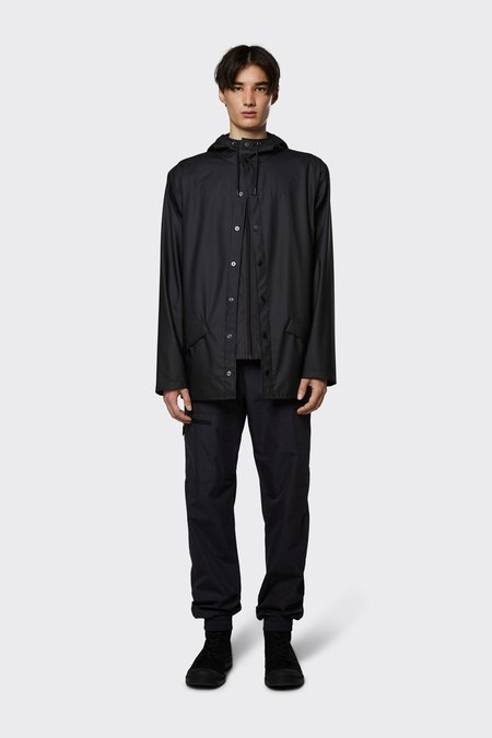 Rains Short Hooded Popper Jacket - Black