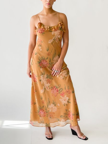 yVintage Illustrated Ruffle Dress - floral print