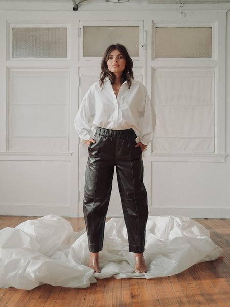 Ganni Leather Trousers - Mole