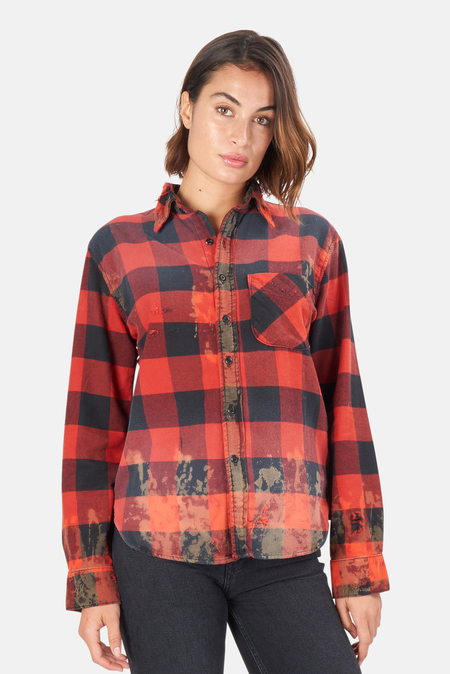 NSF Axel Buttondown Top - Destroyed Red Chequa