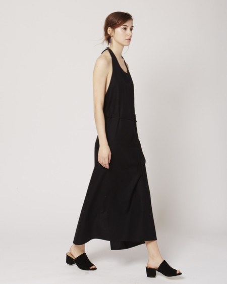 Baserange Apron raw silk dress in black