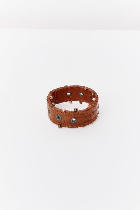 PRE-LOVED Henry Beguelin Whipstitch Leather Bracelet - ORANGE