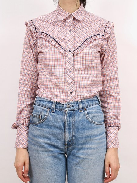 Vintage western frill button down shirt - pink plaid/navy piping