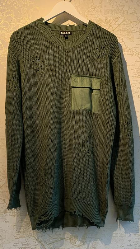 Ser.o.ya Devin Distressed Sweater - Green