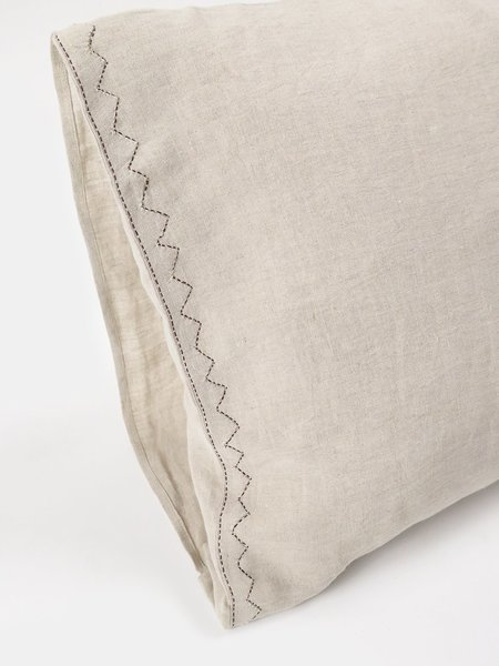 Erica Tanov Pair Linen Pillowcase - Hand-embroidered Natural