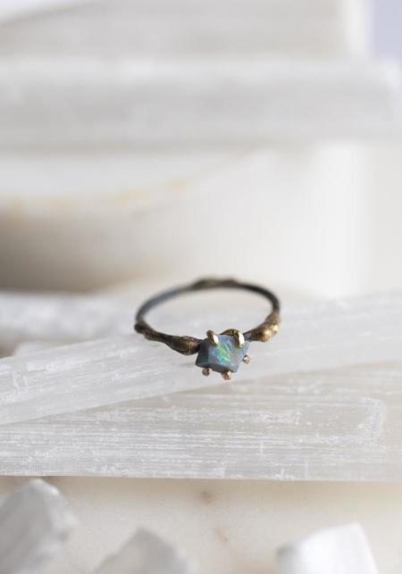 Variance Objects 14k-24k Gold Sterling Silver and Delicate Australian Opal Ring - Gold/Silver