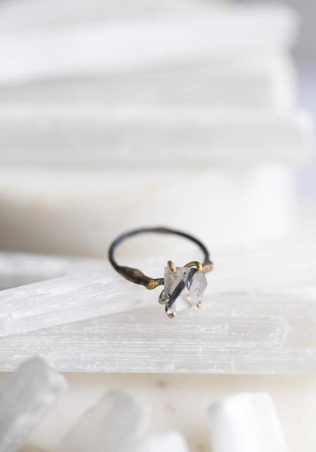 Variance Objects 14k-24k Gold, Sterling Silver and Tourmalated Quartz Ring - Silver