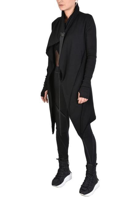 La Haine Asymmetric Shawl Collar Jersey Meper Cardigan - Black