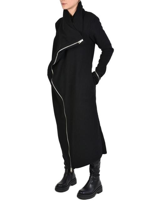 La Haine Bold Neck Zipper Detail Long Lapar Jacket - Black