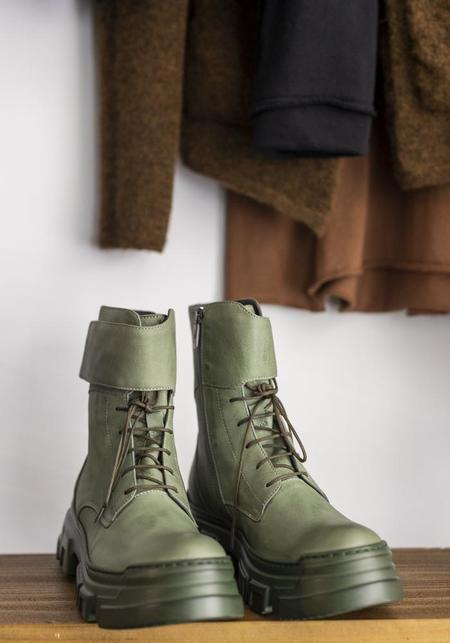 Lofina Leather Lace Up Boot - Olive