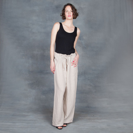 Black Crane Drawstring Pants in Oatmeal