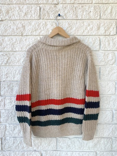 The Great. The Striped Henley Pullover - Oatmeal