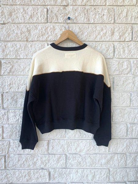 The Great. The Western Teammate Sweatshirt - Black/Cream