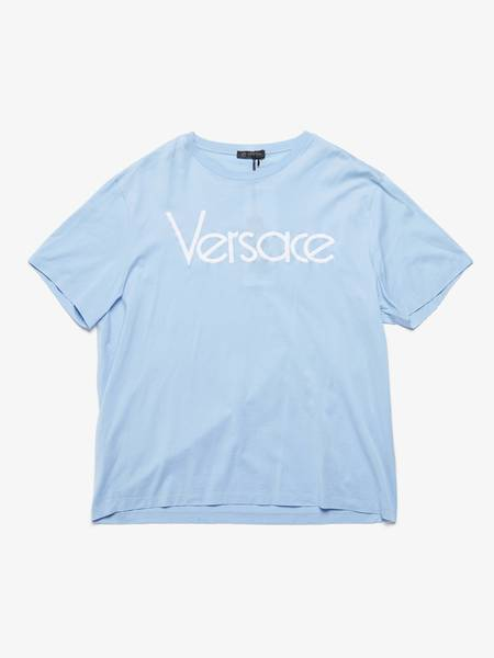 [Pre - Loved] Versace Male  Logo Embroidered Cotton T-Shirt - Light Blue