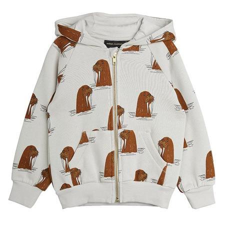 kids Mini Rodini Child Walrus Print Hooded Sweatshirt - Grey