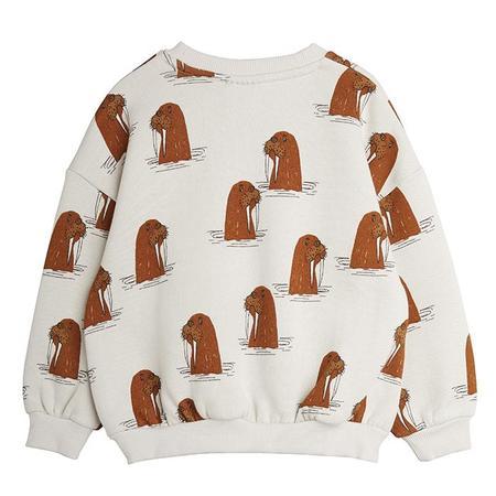 Kids Mini Rodini Child Sweatshirt - Grey Walrus Print