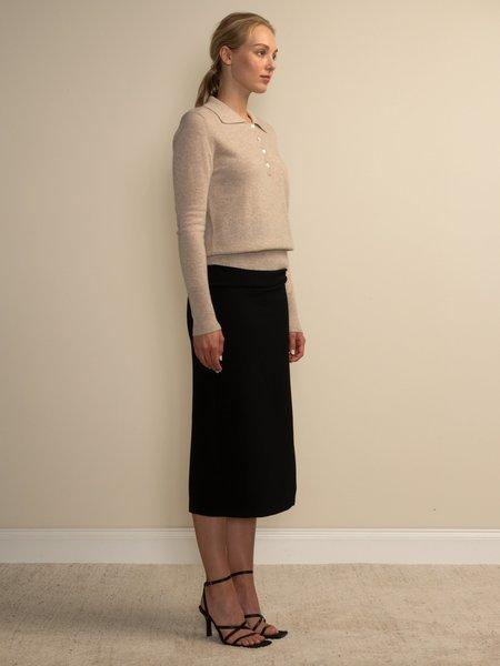 PURECASHMERE NYC Classic Polo Sweater - Oatmeal