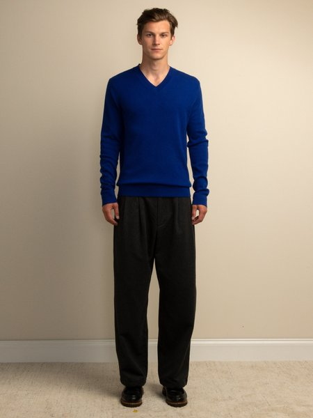 PURECASHMERE NYC Men V Neck Sweater - Royal Blue