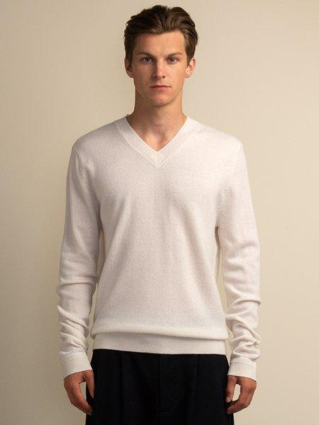 PURECASHMERE NYC Men V Neck Sweater - Vintage White