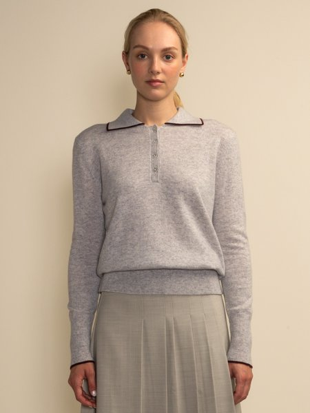 PURECASHMERE NYC Tipped Polo Sweater - Grey