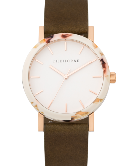 The Horse Watch - Nougat/Rose Gold/Olive Leather
