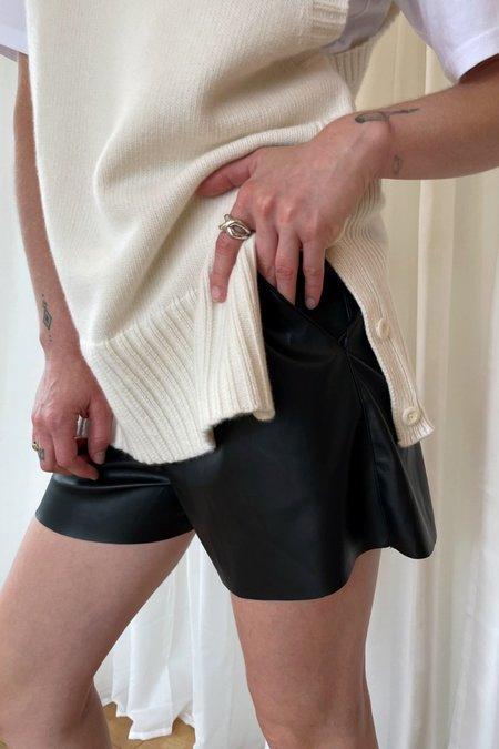 Courgette Vegan Leather Shorts - Black