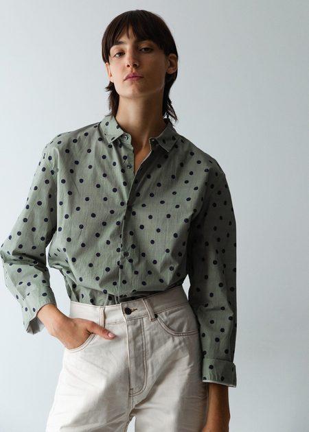 Caron Callahan Alice Shirt - Sage Dot Print
