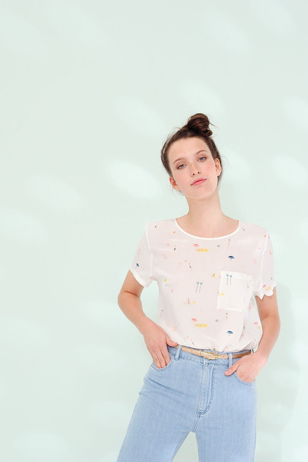 Des Petits Hauts   Emilion Silk Short Sleeve Top