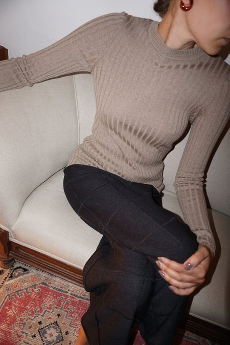 DIARTE VALLEY RIBBED CREWNECK sweater - TAUPE