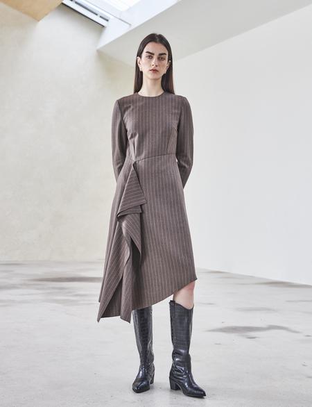 Maison De Ines FRONT SHIRRING DRESS - brown