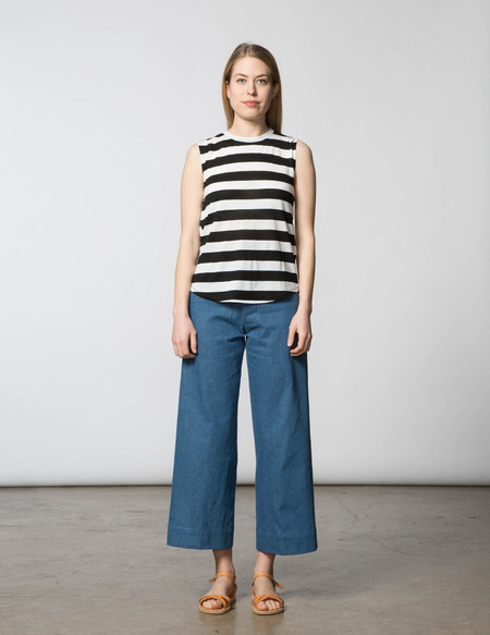 SBJ Austin Melissa Muscle Tee - Black & White Stripe