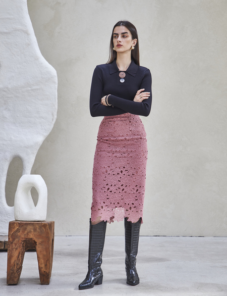 Maison De Ines LACE PUNCHING SKIRT - pink