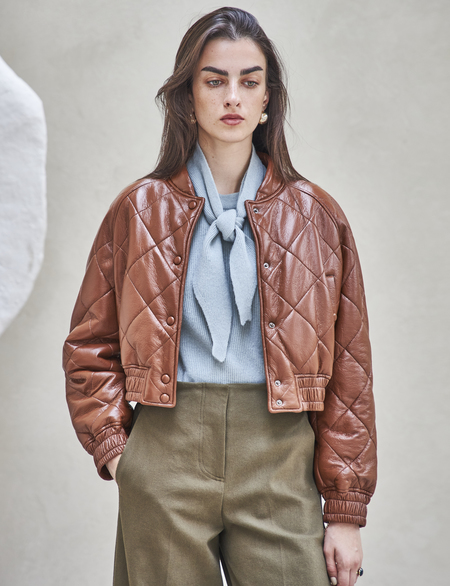 Maison De Ines CROPPED PADDED JACKET - brown