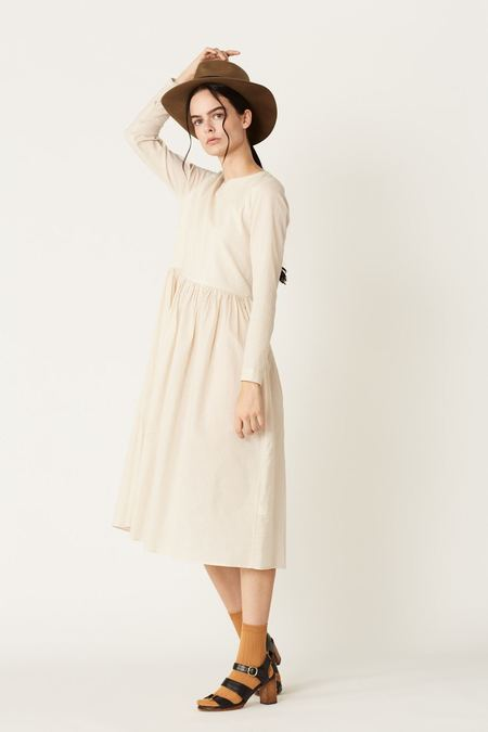 Megan Huntz Ingrid Dress - Ecru Textured Cotton