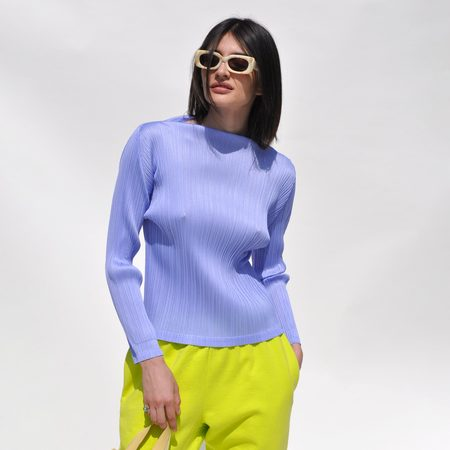 Pleats Please by Issey Miyake Long Sleeve Mock Neck Top - Lilac
