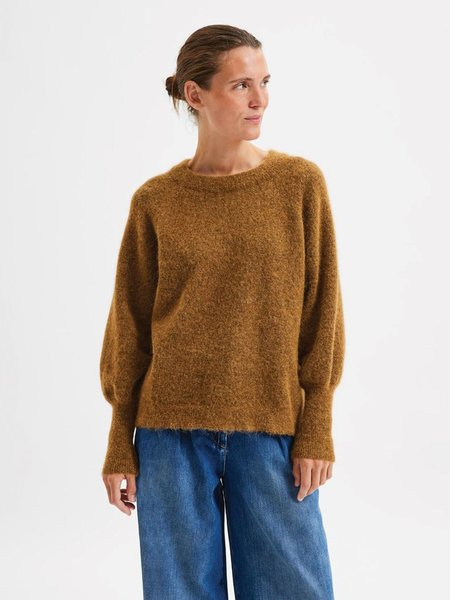 Selected Femme Kaya Round Neck Knit Pullover  -  Rubber