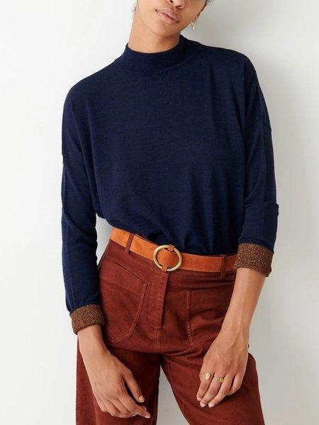 Sessun Massa Knit Sweatshirt  - Navy & Amber