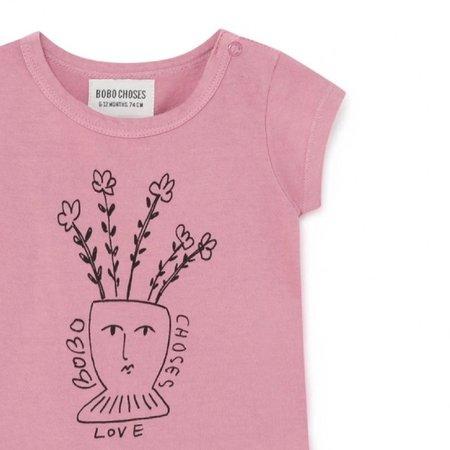 Kids Bobo Choses Flowers Short Sleeve Bodysuit - pink