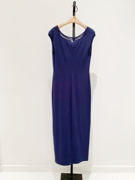 Fuzzi cotton maxi dress with tulle detail - Navy