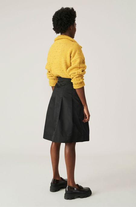 Ganni Cable Knit 1/4 Zip sweater - Spectra Yellow