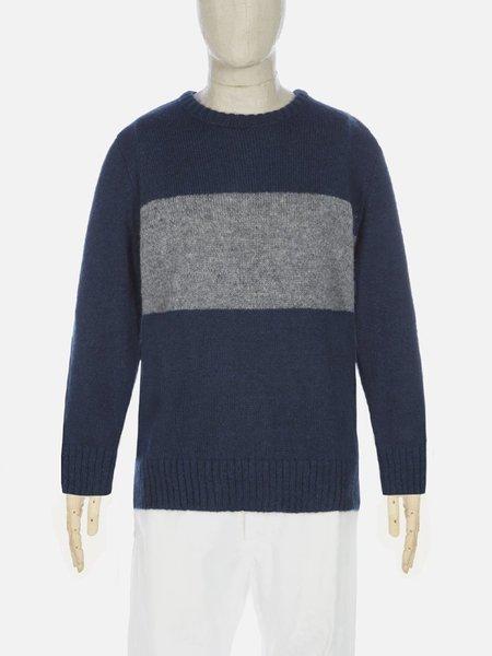 Universal Works Stripe Crew Sweater - Navy