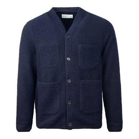 Universal Works Wool Fleece Cardigan - Navy